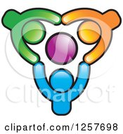 Clipart Of Colorful Diverse Team Of People Holding Hands Around An Orb Royalty Free Vector Illustration