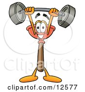Sink Plunger Mascot Cartoon Character Holding A Heavy Barbell Above His Head by Toons4Biz