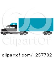 Clipart Of A Black And Blue Big Rig Truck Royalty Free Vector Illustration