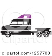 Clipart Of A Black And Purple Big Rig Truck Royalty Free Vector Illustration