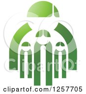 Clipart Of A Green Family Of Four Royalty Free Vector Illustration by Lal Perera