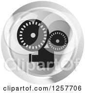 Clipart Of A Round Silver Movie Camera Icon Royalty Free Vector Illustration