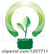 Clipart Of A Green Seedling Plant In A Lightbulb Royalty Free Vector Illustration