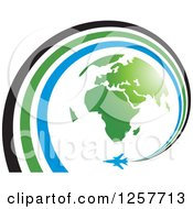 Clipart Of A Green Earth And Airplane With A Spiraling Trail Royalty Free Vector Illustration