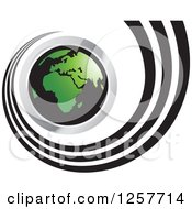 Clipart Of A Chrome Black And Green Earth And Spiraling Trail Royalty Free Vector Illustration