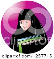 Clipart Of A Happy Muslim Girl Carrying Books Over A Purple Circle Royalty Free Vector Illustration