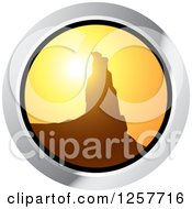 Clipart Of A Round Sunset Rock Formation Icon Royalty Free Vector Illustration