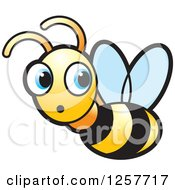 Clipart Of A Surprised Bee Flying And Looking Back Royalty Free Vector Illustration
