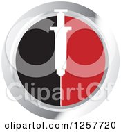Clipart Of A White Syringe Over Black And Red On A Silver Round Icon Royalty Free Vector Illustration