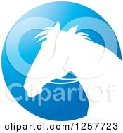 Clipart Of A White Silhouetted Horse With Reins Over A Blue Circle Royalty Free Vector Illustration