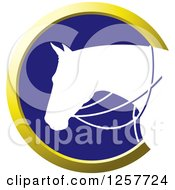 Clipart Of A White Silhouetted Horse With Reins In A Gold And Blue Circle Royalty Free Vector Illustration