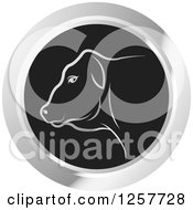 Clipart Of A White Cow In A Black And Silver Circle Royalty Free Vector Illustration
