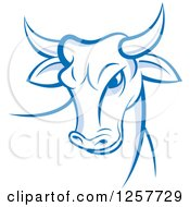 Clipart Of A Blue And White Bull Royalty Free Vector Illustration