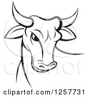 Clipart Of A Black And White Bull Royalty Free Vector Illustration