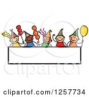Diverse Group Of Stick Children Over A Blank Party Banner Sign