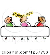 Clipart Of A Diverse Group Of Stick Children Carrying A Blank Banner Sign Royalty Free Vector Illustration
