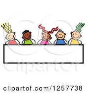 Diverse Group Of Stick Children Over A Blank Banner Sign