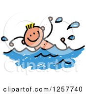 Clipart Of A Happy Blond White Stick Boy Swimming Royalty Free Vector Illustration