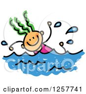 Clipart Of A Happy Green Haired White Stick Girl Swimming Royalty Free Vector Illustration