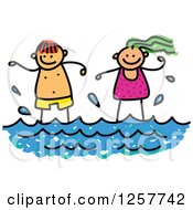 Clipart Of Happy White Stick Children Standing In The Surf Royalty Free Vector Illustration