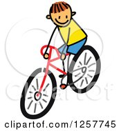 Clipart Of A Brunette White Stick Boy Riding A Bike Royalty Free Vector Illustration