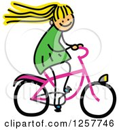 Clipart Of A Blond White Stick Girl Riding A Bike Royalty Free Vector Illustration