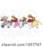 Clipart Of A Diverse Group Of Disabled Stick Children Running And Playing Royalty Free Vector Illustration