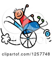 Clipart Of A Happy White Disabled Stick Boy Playing In His Wheelchair Royalty Free Vector Illustration
