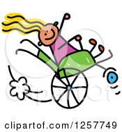 Happy White Disabled Stick Girl Playing In Her Wheelchair