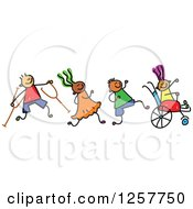 Clipart Of A Diverse Group Of Disabled Stick Children Running And Playing Royalty Free Vector Illustration by Prawny #COLLC1257750-0089