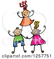 Clipart Of A Diverse Group Of Cheering Stick Children Forming A Pyramid Royalty Free Vector Illustration