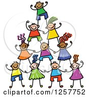 Clipart Of A Diverse Group Of Cheering Stick Children In A Pyramid Royalty Free Vector Illustration