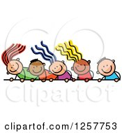 Clipart Of A Diverse Group Of Stick Children Looking Down Over A Sign Royalty Free Vector Illustration