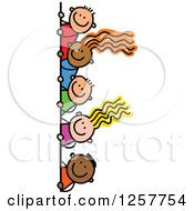 Clipart Of A Diverse Group Of Stick Children Looking Around A Corner Or Sign Royalty Free Vector Illustration