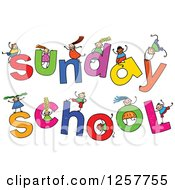 Clipart Of A Diverse Group Of Stick Children Playing On Sunday School Text Royalty Free Vector Illustration