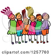 Clipart Of A Diverse Group Of Stick Children Waiting In Line Royalty Free Vector Illustration