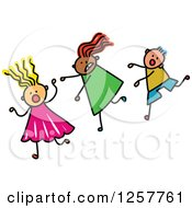 Clipart Of A Diverse Group Of Scared Stick Children Running Royalty Free Vector Illustration