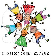 Clipart Of A Diverse Group Of Stick Children Laying Down In A Circle With Their Heads Together Royalty Free Vector Illustration
