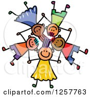 Clipart Of A Diverse Group Of Stick Children Laying Down In A Star Formation With Their Heads Together Royalty Free Vector Illustration