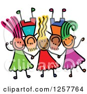 Clipart Of A Diverse Group Of Stick Children Laying Down With Their Heads Together Royalty Free Vector Illustration