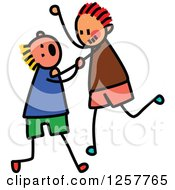 Clipart Of White Stick Boys Fighting Royalty Free Vector Illustration