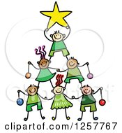 Diverse Group Of Stick Children Forming A Christmas Tree Pyramid