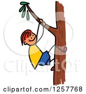 Clipart Of A Red Haired White Stick Boy Climbing A Tree Royalty Free Vector Illustration