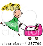 Clipart Of A Blond White Stick Girl Pushing A Baby Doll In A Stroller Royalty Free Vector Illustration