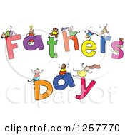 Clipart Of A Diverse Group Of Stick Children Playing On Fathers Day Text Royalty Free Vector Illustration by Prawny
