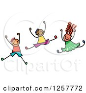 Clipart Of A Diverse Group Of Stick Children Jumping Royalty Free Vector Illustration