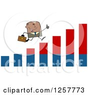 Clipart Of A Black Stick Businessman Holding A Thumb Up And Running On An Growth Bar Graph Royalty Free Vector Illustration