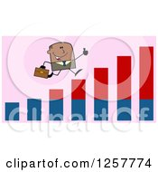Clipart Of A Black Stick Businessman Holding A Thumb Up And Running On An Growth Bar Graph Over Pink Royalty Free Vector Illustration