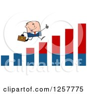 Clipart Of A White Stick Businessman Holding A Thumb Up And Running On An Growth Bar Graph Royalty Free Vector Illustration