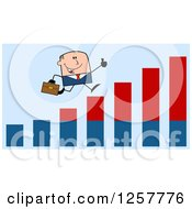 Clipart Of A White Stick Businessman Holding A Thumb Up And Running On An Growth Bar Graph Over Blue Royalty Free Vector Illustration